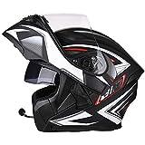 Allround Helmets Bluetooth Casco Moto Modular Motocicleta Integrada,Casco De Motocicleta Multifuncional Certificación Dot/ECE 22.05 Casco Modular Bluetooth Incorporado con Doble Vise F M F,XXXL