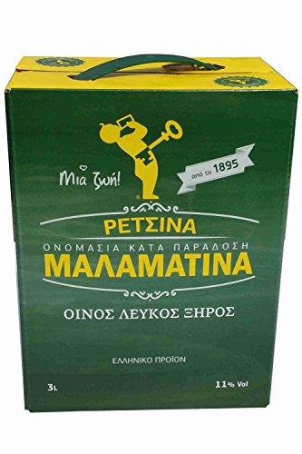 Retsina Malamatina 3 Liter Bag in Box mit Zapfhahn geharzter Weißwein aus Griechenland griechischer traditioneller Weiß Wein mit Harz