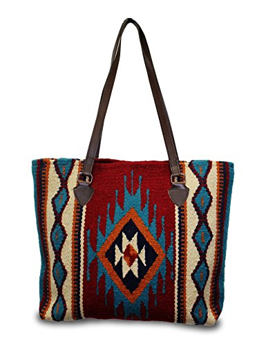 Southwest Boutique Wool Tote Purse Bag Native American Western Style Handwoven (La Jolla)