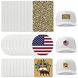 Parche de sublimación en blanco de 36 piezas, 3 estilos personalizados de sublimación parches personalizados, parches de arpillera blanca, parches de bricolaje para sombreros bolsas de suministros