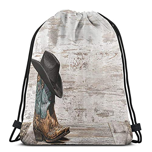 Drawstring Bag Traditional Rodeo Cowboy Hat and Cowgirl Boots in A Retro Grunge Background Art Photo Classic Drawstring Bag Sports Fitness Bag Travel Bag Water Resistant Nylon Beach Bag