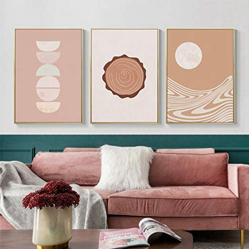 Art Poster Abstract Landscape Sun And Moon Tree Ring Scenery Canvas Plate Wall Room For Living Room, Home Decoration Paint-30x40cmx3 No Frame