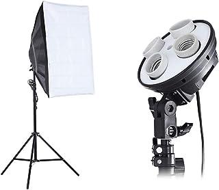 مجموعة مستلزمات لاستوديو الصور 3 في 1، من حامل لعدد 4 مصباح وعمود اضاءة بطول 2 متر وسوفت بوكس مقاس 50 × 70، مع قابس الاتحا...