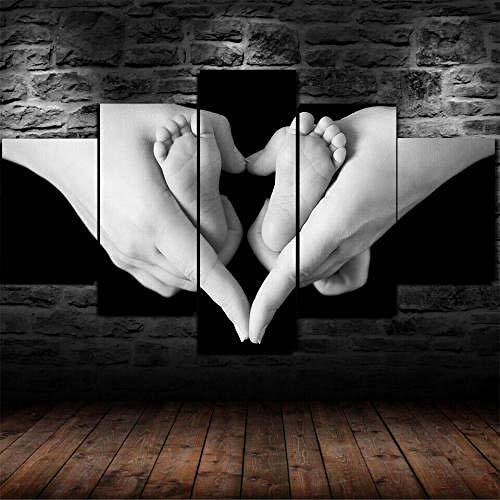 BDFDF Impresión En Lienzo 5 Piezas Lienzos Decorativos XXL Amor Niños Pies De Bebé Madre Impresiones sobre Lienzo 5 Cuadros Lienzos Salon Decoracion Murales Pared Moderno Decoración Hogar