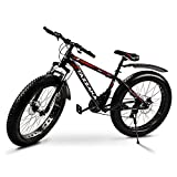 Tazzaka Mountainbike Fahrrad, 26 Zoll, mit 26 * 4.0 Reifen, Erwachsene, Fat-Tyre-Mountain-Trail-Bike, 21-Gang-Fahrrad, Rahmen aus Karbonstahl Rot (Rot)