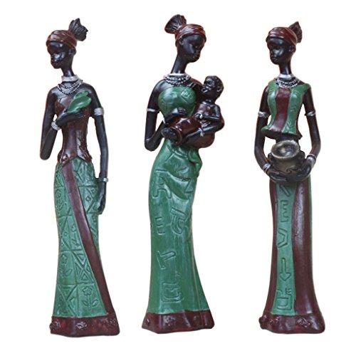 non-brand 3 STK. Deko Afrikanische Frau Figur Statue Skulptur, Afrikanerin Dekofigur - Grün