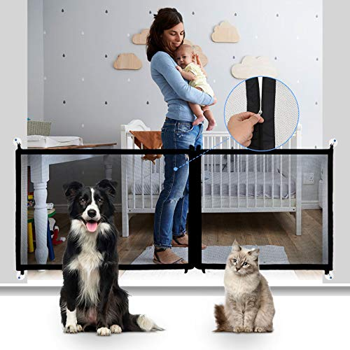 CHARMINER Magic Pet Gate for Dogs, Mesh Dog Gate, Baby Gate with Latest Zipper Design Extra Wide Portable Adjustable Folding Mesh Dog Gate for Doorways-Safety Fence for Stair Black
