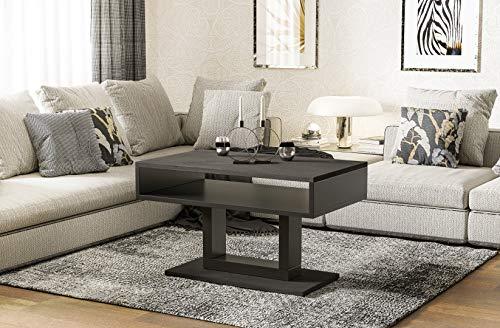 Endo-Moebel Couchtisch Tilo Design modern zweifarbig Wohnzimmertisch Tisch Sofatisch schwarz (Beton dunkel)