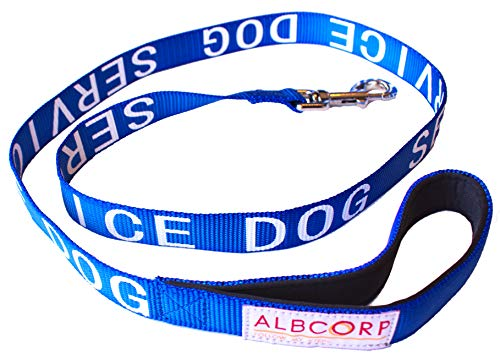 ALBCORP Padded Service Dog Leash - with Neoprene Handle - and Reflective Silk-Screen Print, for use on Harnesses,Vests, Collars 4 Foot Blue