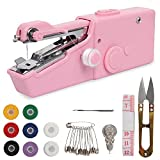 Handheld Sewing Machine, 22 Pcs Mini Portable Cordless Sewing, Household Quick Repairing Tool with Conventional Kit, for Fabric Cloth Handicrafts Home Travel Use (Pink)