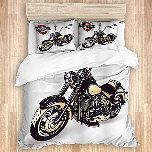 Jojun Funda nórdica, Motocicleta Chopper Personalizada con Club Insignia Bikes Hippie Classic Retro, Juego de Ropa de Cama de Calidad con 1 Funda y 2 Fundas de Almohada Estilo