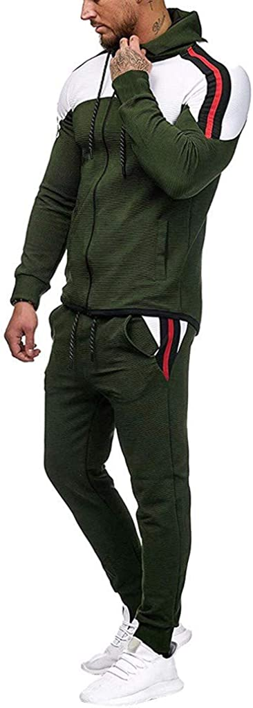 FORUU Mens Tracksuit Clearance,Casual Fashion Comfy Zipper Print Sweatshirt Tops Pants Sets Sport Suit Activewear