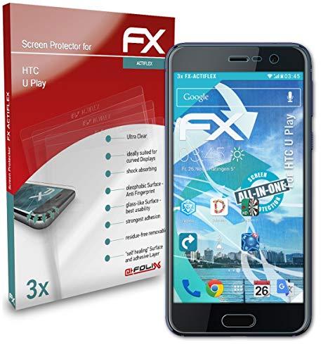 atFolix Schutzfolie kompatibel mit HTC U Play Folie, ultraklare & Flexible FX Bildschirmschutzfolie (3X)