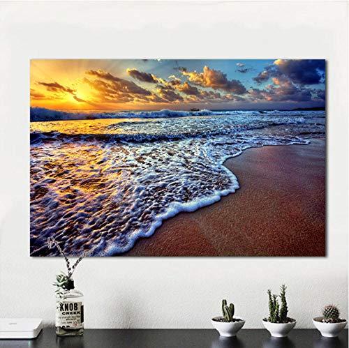 WZADXY Wandkunst Bilder für Wohnzimmer Leinwand Kunst Sonnenuntergang Strand Sand Ozean Küste Meer Landschaft Malerei Wohnkultur rahmenlos