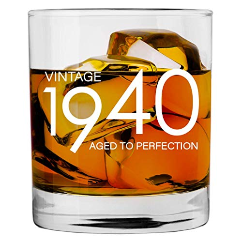 Image of the 1940 80th Birthday Gifts for Men Women - 11 oz Whiskey Bourbon Lowball Glass - Funny Vintage 80 Year Old Gift Present Ideas for Him Dad Husband - Anniversary Christmas Whisky Glasses Party Decorations