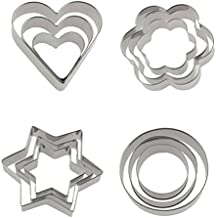 Docik 12 Piece Small Stainless Steel Cookie Cutter, Cake Vegetable Fruit Biscuit Cutters Molds Set, Heart Flower Star Round Shape