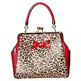 Banned Rockabilly Shirley Leopard - Bolso con asas para mujer, color rojo y leopardo