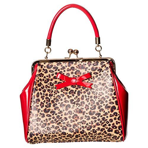 Banned - Rockabilly Shirley Leopard Damen Tasche Henkeltasche (Rot/Leopard)