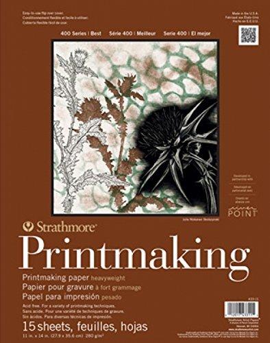 Strathmore (433-11 400 Series Printmaking Pad, Heavyweight, White , 11'x14', 15 Sheets