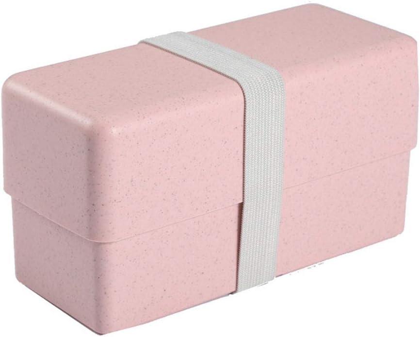 KUANDARMX Bento Box Japonés - Fiambrera Isotérmica Caja De Almuerzo con Lonchera Doble, Bento Box Sostenible, para Microondas Y Lavavajillas, Pink