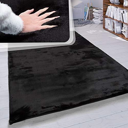 Paco Home Hochflor Teppich Wohnzimmer Kunstfell Super Soft Einfarbig in Versch. Größen und Farben, Farbe:Schwarz, Grösse:120x160 cm