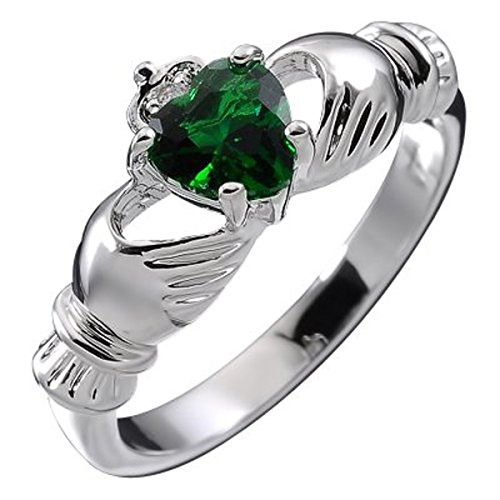 UPCO Jewellery Plata Esterlina, Piedra Claddagh Irlandesa del Mes de Mayo Verde Esmeralda Engarzada De 9mm 2ct del Corazón, Anillo De Compromiso De Boda – 10