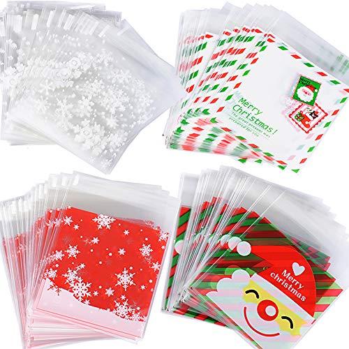 400pcs(10 * 13cm) Bolsas Bolsitas Navidad Plástico Celofán Autoadhesivas Caramelos Regalo Dulces Galletas Cookies...