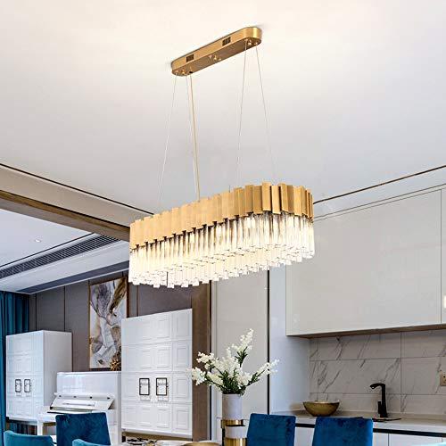 Sebasty Lámparas de araña de 90 x 30 cm oro de lujo oval cristal europeo moderno villa hotel salón comedor lámpara LED