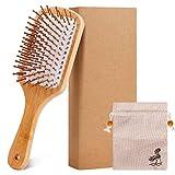 Jabalí de cerdas de madera de bambú masaje peine,nudo no electrostática comodo y durable gran Paddle hairbrush con bolsa de gas…