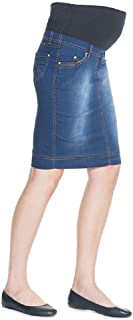 Mothers Essentials Maternity Pregnant Denim Skirt with Pregnancy Jersey Panel