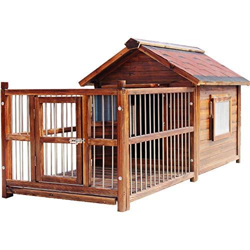 ZZQ Hundevilla - Hundehütte aus Holz Robuste und attraktive Hundehütte aus hellem, veredeltem Holz mit weitem Überhang zum Schutz vor widrigen Wetterbedingungen