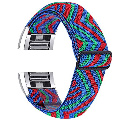 ECSEM Bands Compatible with Fitbit Charge 2 for Women Men Elastic Fabric Stretchy Loop Adjustable Wristband Sport Strap (Pop Pattern)