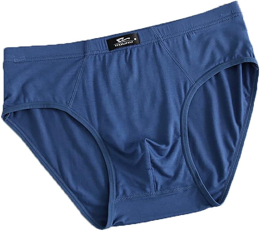 Men's Briefs Summer Breathable Modal Cotton Plus Fat Large Size Solid Color Mid-Waist Underwear5