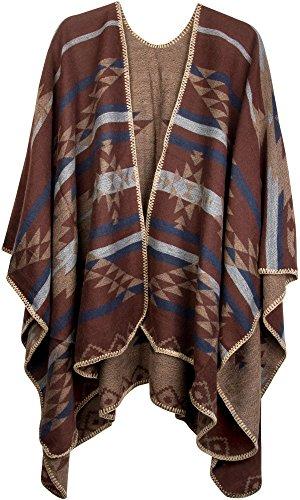 styleBREAKER Poncho mit Azteken Muster, Umhang, Überwurf Cape, Wendeponcho, Damen 08010012, Farbe:Braun-Hellbraun