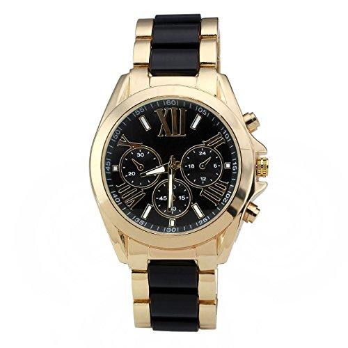 JSDDE, orologio da polso XL, dotato di cronografo dorato e movimento analogico al quarzo, cinturino a maglia piatta, colore nero e oro, da uomo