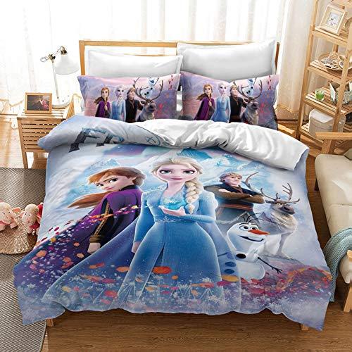 Disney Die Eiskönigin Bettbezug für Mädchen, Cartoon-Anime-Charaktere, Elsa, Anna Olaf, Mikrofaser-Bettwäsche-Set, für Teenager, Erwachsene, Einzelbett (I, 135 x 200 cm)