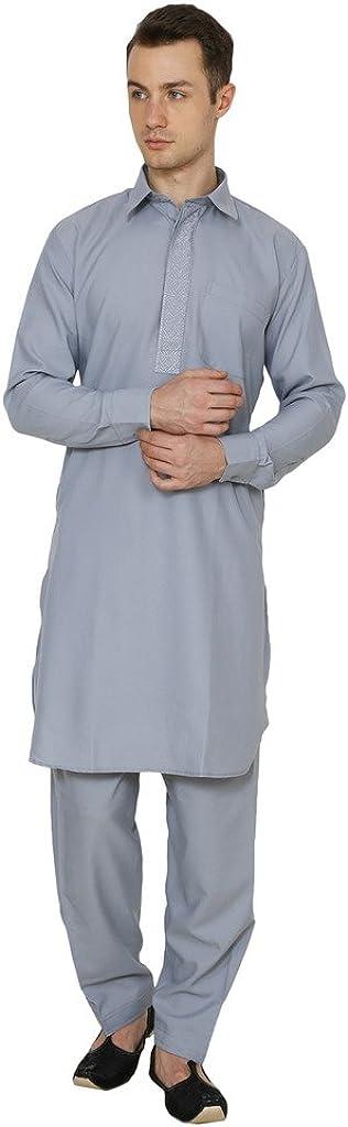 Royal Kurta Men's Polycotton Embroidered Pathani Suit