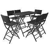 Tidyard Set Comedor de jardín Plegable 7 pzas Poli ratán y Acero Negro Conjunto de Mesa sillas,Mesa Salón y Sillas,Muebles de Jardin Exterior Conjuntos