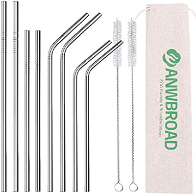 ANWBROAD Metal Straws Stainless Steel Straws Dr...