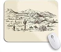 ROSECNY 可愛いマウスパッド 西アメリカの野生の西の砂漠のカウボーイスケッチ風景描画滑り止めゴムバッキングマウスパッドノートブックコンピューターマウスマット