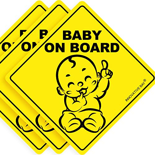 "Latest Design- Baby on Board Sticker Sign (3 Pack), Baby Board, Baby car Sticker, Baby car Decal, US Department of Transportation Recommend Color & Shape,Kid Safety, 5""by5"" by Innovative Bay"