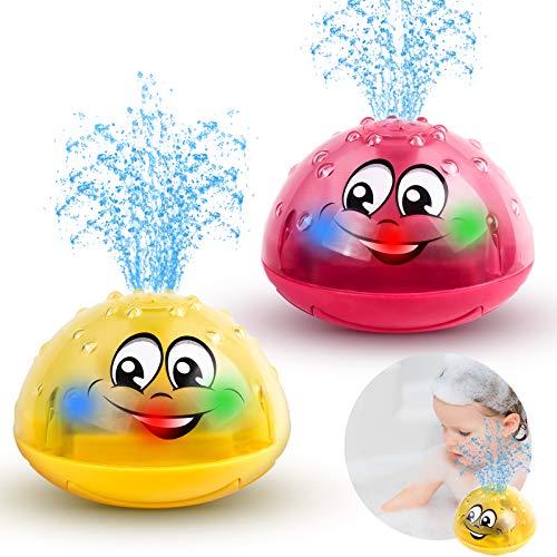 Baby Badespielzeug Wasserspielzeug Badewannenspielzeug 2 x Wasser Badespielzeug mit Licht für 1 2 3 4 5 Jahre alte Jungen Mädchen