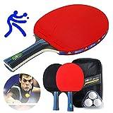 Conjunto de Pelotas Ping Pong Set PortáTil, con 2 Raquetas 3 Pelotas 1 Bolsa para Actividades Al Aire Libre, para Juegos de Interior y Exterior