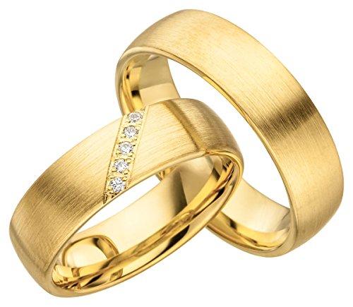JC Trauringe 925er Sterling Silber Gold Plattiert Paarpreis I Ehe-Ringe mit kostenloser Gravur I Verlobungsringe 6 mm breit inkl. Etui-Box I Damen-Ring mit 5 Zirkonia-Steinen I Gr. 48 bis 72 I JC009