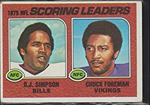 1976 Topps O.J. Simpson/Chuck Foreman Scoring Leaders Football Card #204