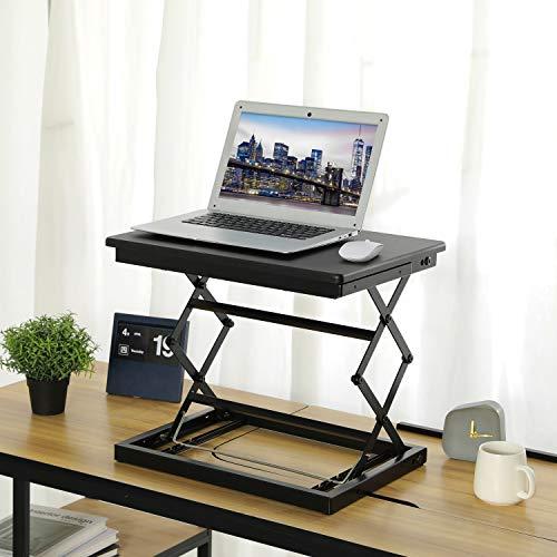 KICODE Height Adjustable Laptop Stand for Desk, Standing Desk, Stand Up Desk Converter, 4 Height Levels Sitting Standing Workstation for Notebook Computer - Black