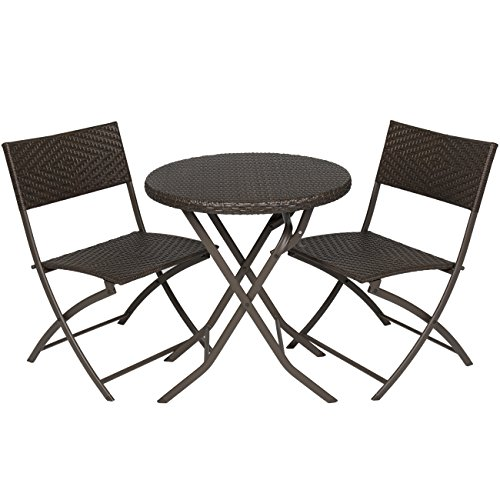 Best Choice Products 3-Piece Outdoor Patio Folding Rattan Hand Woven Bistro Set Furniture w/Table, 2 Chairs - Brown