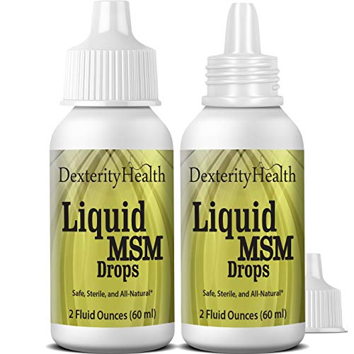 Dexterity Health Liquid MSM Eye Drops 2-Pack of 2 oz. Squeeze-Top Bottles, 100% Sterile, Vegan, All-Natural and Non-GMO, Contains Organic MSM
