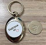 Schlüsselanhänger Silber Erzieherin mit Herz Einkaufswagen chip in Magnethalterung
