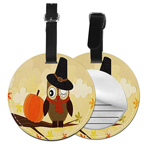 Luggage Tags Happy Halloween Autumn Owl Pumpkin Suitcase Luggage Tags Business Card Holder Travel Id Bag Tag